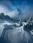 mount jefferson, clouds, morning, snowfall, alpine