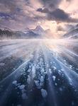 Canadian Rockies, Ice, Lake, Frozen, Bubbles, Peaks