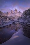 moonlight fitz roy patagonia winter snow reflection