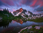 Long exposure, clouds, whatcom peak, peak, whatcom, north cascades, washington, tarn, remote