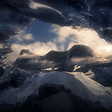 ice cave, mountains, waterfall, Alaska, ice, glacier, cave, cascade