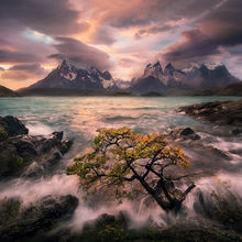patagonia, torres del paine, surf, splash, sunset
