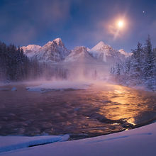 Canadian Rockies, Moon, Moonlight, Mists, River
