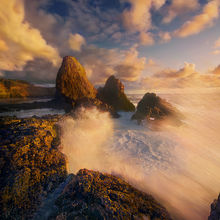 Oregon, Coast, Sunset, Wave, Big Wave