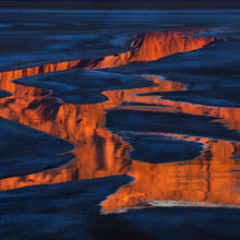 reflected, light, death valley, california, stream