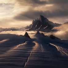 Devils thumb, Alaska, petersburg, glacier, crevasses, mountains, peak,  sunset