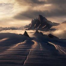 Devils thumb, Alaska, petersburg, glacier, crevasses, mountains, peak,  sunset
