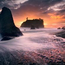 waves, wave, vibrant, sunset, washington, ruby beach