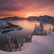rare, striking, beauty, oregon, crater lake, lake, winter, national park