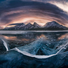 Lenticular, cloud, rockies, ice, winter, spray lakes, Alberta, Canada