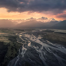 drone, mount cook, New Zealand, aerial