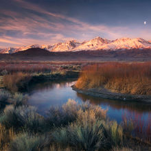 Moon, Sunrise, Eastern Sierra, Owens River, California