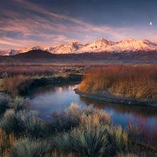 Moon, Sunrise, Eastern Sierra, Owens River, California