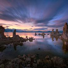 mono lake, twilight, california, long exposure, clouds, water