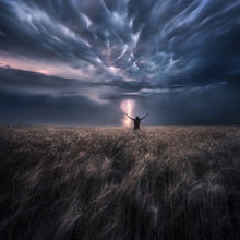 person, figure, storm, reaching, alone, dramatic, moody, dark, lightning, plains, kansas