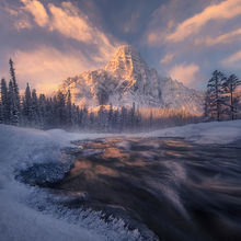 Winter, snow, stream, river, Canada, Alberta, north, mountains