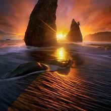 dramatic, olympic coast, coast, sunset