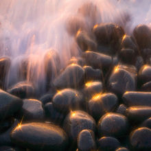 sparkling, light, wave, action, rocks, sunset, oregon