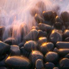sparkling, light, wave, action, rocks, sunset, oregon