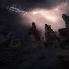 Arizona, Lightning, Storm, Unique, arch