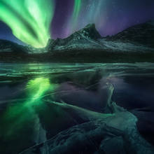 aurora, ice, frozen, lake, reflection, Yukon, Canada, arctic