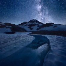 South Sister, Oregon, Peak, Milky Way, Night, Ice, Melt, Reflection