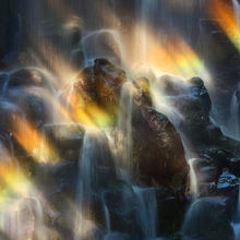 basaltic, waterfall, rainbow, light, oregon