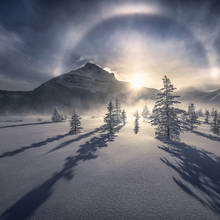 below zero, icebow, ice, sundog, frigid, minus forty, Canadian rockies, jasper
