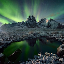 Mountains, Aurora, Tombstone, yukon, moonlight