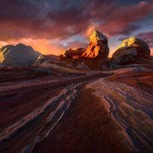 Arizona, Dark, Dramatic, Sunset, Sandstone, Formations