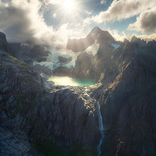 New Zealand, glacier, waterfall, turquoise lakes