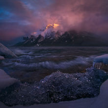 Minnewanka, Canadian Rockies, Storm, Wave, Sunset, Ice, Winter