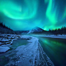 Aurora, Yukon, River, Ogilvie, Ice, Mountains