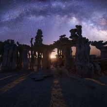 Milky way, moonlight, moon, tufa, mono lake, California