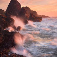 waves, rocks, sunset, oregon, coast