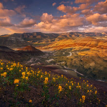 oregon, painted hills, national monument, spring, wildflowers, sunset, beautiful