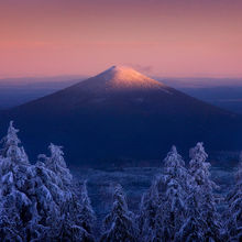 Snow, Twilight, Black Butte, Oregon, Peak, Backcountry, Winter