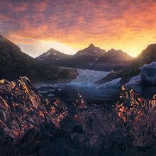 iceberg, ice, lake, bay, Leconte, Alaska, glacier, sunrise