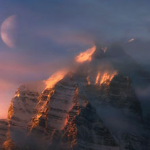 Mount temple, banff, moon, sunrise, winter