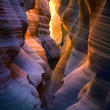 colorful, light, reflected, remote, slot canyon