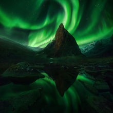 aurora, moon, canada, peak