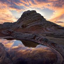 White Pocket, Arizona, Sunset, reflected