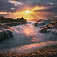 Wave, Oregon, Coast, waterfalls, sandstone, sunset