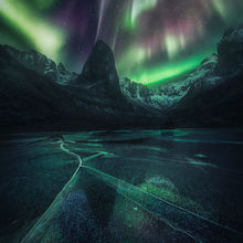 stars, aurora, ice, reflection, Yukon
