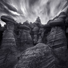 striped, rock formations, arizona, remote, sunset, black and white, dramatic