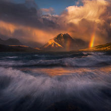 Glacier, Montana, Lake, Rainbow, Waves, Storm, Sunrise