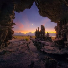 twilight, tufa, unique, cave, mono lake