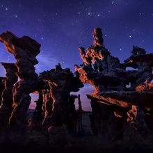 Sand Tufa, Mono Lake, Unique, Night