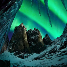 icicles, arctic, peak, moonlight, aurora, tombstone, monolith