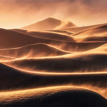 Dunes, sunset, death valley, lone, person, blowing, windstorm, wind